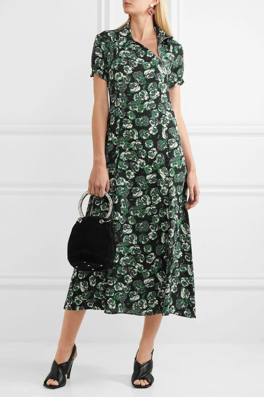 NWT MARNI Floral-print crepe zipper front midi dress Size 44