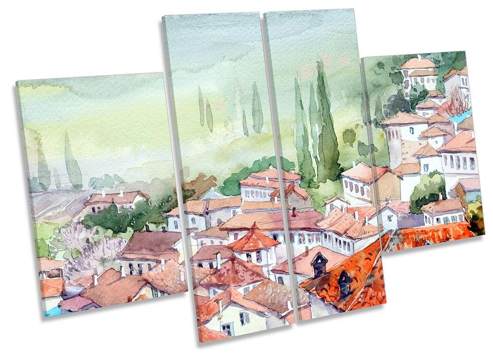 Villaggio Mediterraneo Paesaggio incorniciato stampa tela quattro pannelli wall art