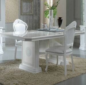 Cool Details About Versace Design White Silver Italian High Gloss Dining Table 6 Fabric Chairs Uwap Interior Chair Design Uwaporg