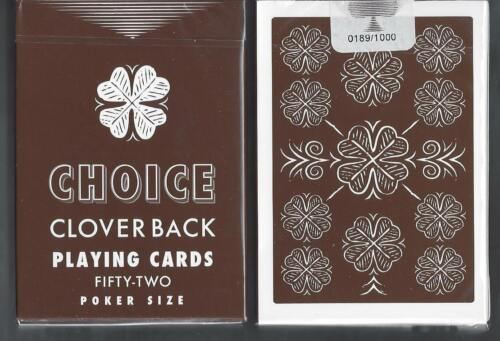 playing cards FREE USA SHIP! limited, numbered 1 DECK Choice Cloverback brown