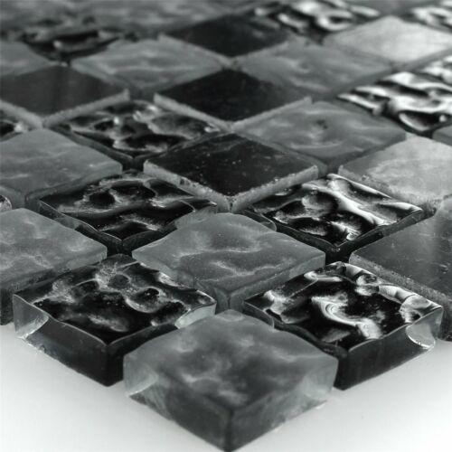 Glasmosaik Naturstein Mosaikfliesen Marmor Quebeck Zambia Schwarz Wand Dusche