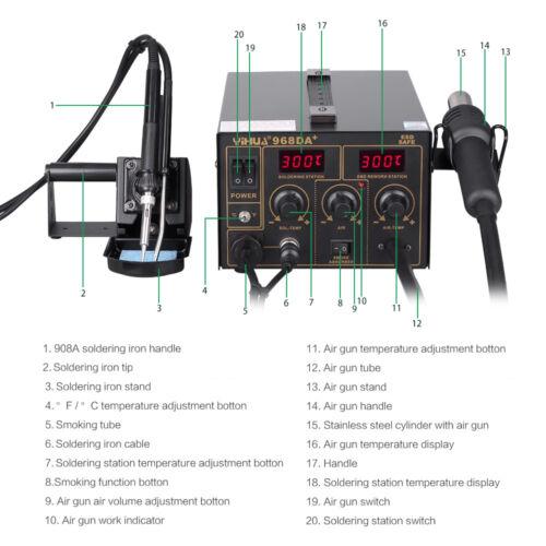 3in1 kit de reacondicionamiento de la Estación de Soldadura Hierro Pistola de aire caliente soldador SMD LED Digital 968DA+