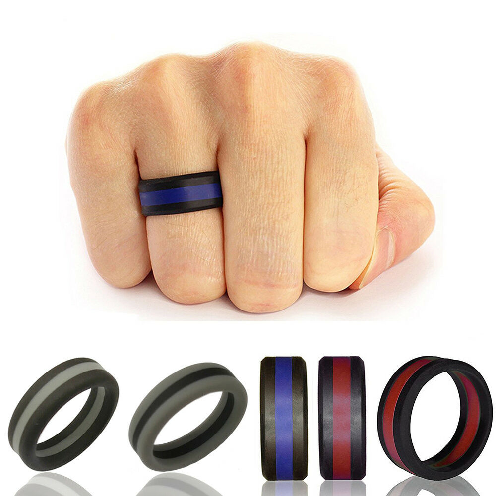 HK- 1 Pc 8mm Sports Silicone Wedding Ring for Men/Women Striped Rubber Band Exot Jewelry & Watches