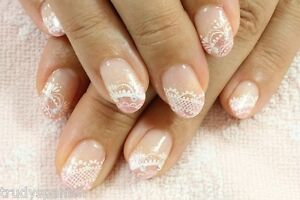 Nail-Art-Lace-Stickers-Decals-Transfers-WHITE-Lace-Design-Nail-Art-2-SHEETS-NEW