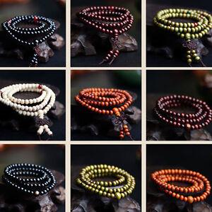 Sandalwood-Buddhist-Buddha-Meditation-108-Prayer-Bead-Mala-Necklace-Bracelet-6mm