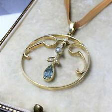 Antique 15ct GOLD Pendant Tourmaline Seed Pearl Lavalier STURDY Edwardian  3.4g