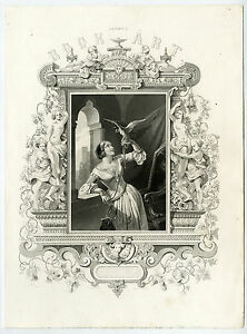 Antique-Print-FALCONRY-FRONTISPIECE-ALLEGORY-Payne-Perlberg-1850