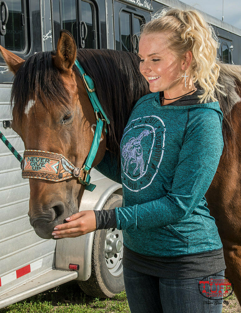 Cowgirl Tuff Deep Turquoise Lux Buckin' Horse Athletic Hoodie 100227