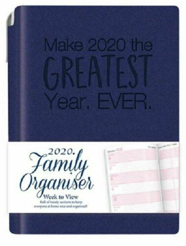 2020 A6 Week to View Family Organiser Diary Typography Design Retractable Pen