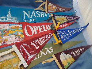 8-Vacation-souvenir-pennants-Chicago-Florida-Louisana-Tennessee-Texas-Oklahoma