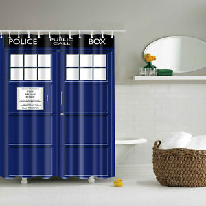 Image Is Loading TARDIS Doctor Who Shower Curtain Fabric Durable Waterproof