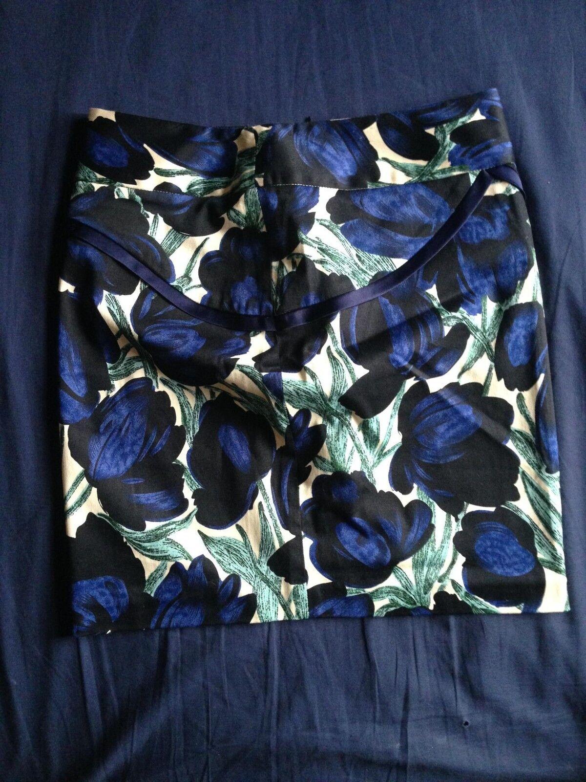 PATRIZIA LUCA Cotton Blend Multicolor Abstract Floral Print Mini Skirt SZ 2