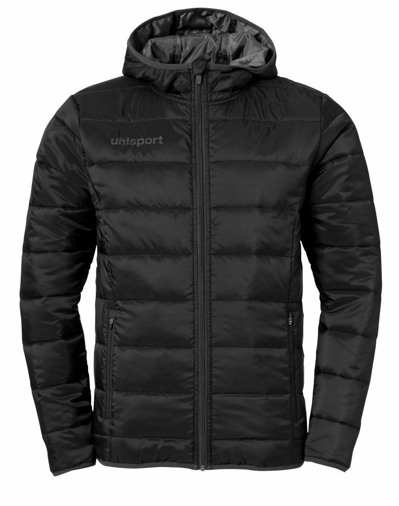 Uhlsport Mens Sports Football Soccer Hooded Jacket Full Zip Long Sleeve Top Blac