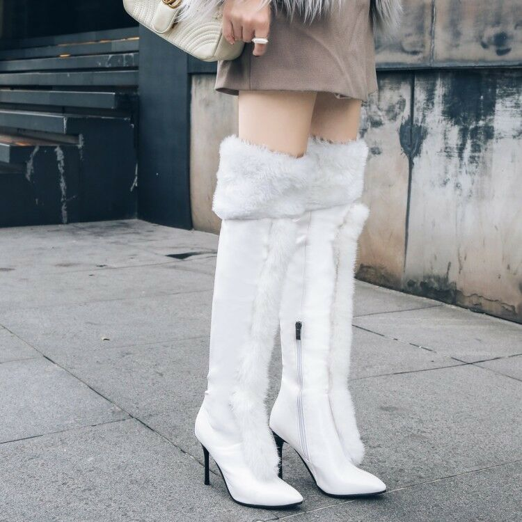 Big Fur High Stilettos Heels Ladies Thigh Stivali Over Autumn Knee Autumn Over Warm Shoes New 2d3750