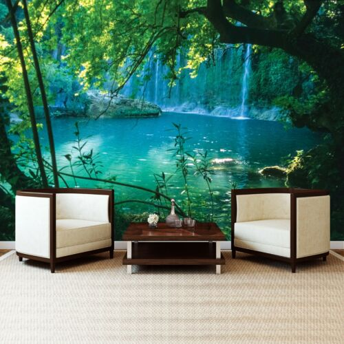 Vlies Fototapete Wasserfall Landschaft Teich Wohnzimmer Tapete XXL Wandtapete 5