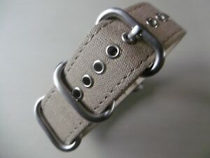 Uhrenarmband-22-mm-khaki-Strap-Canvas-Nato-ZULU-Rundring-Edelstahl-matt-Uhrband