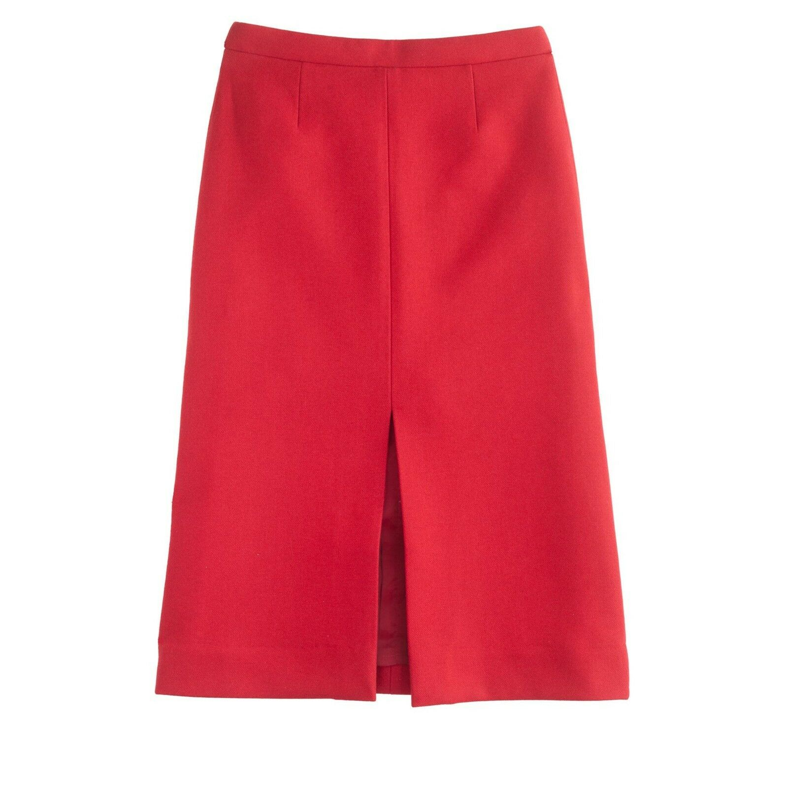 NWT J CREW  148 Cerise Red A-LINE BONDED SKIRT Bonded Wool Sz 4 B5590 Front Slit