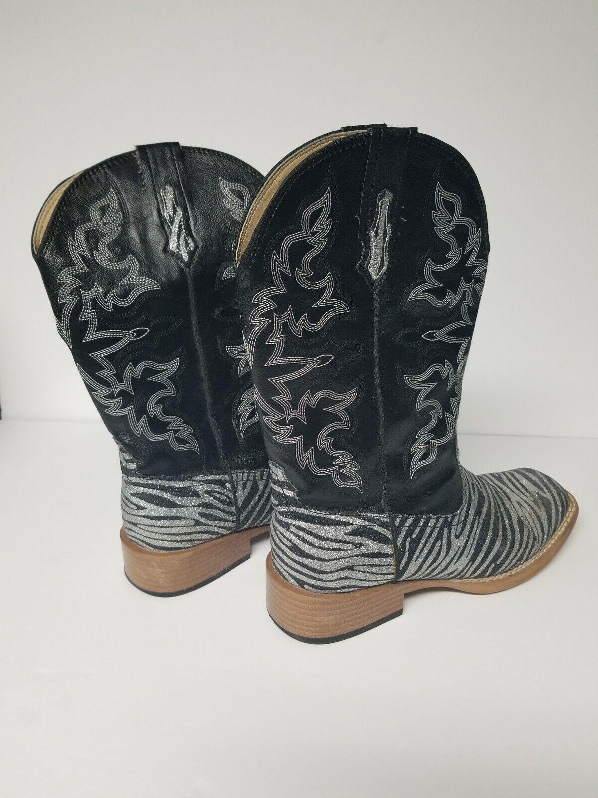 Roper Womens Size 6M Zebra Glitter Cowboy Square … - image 2