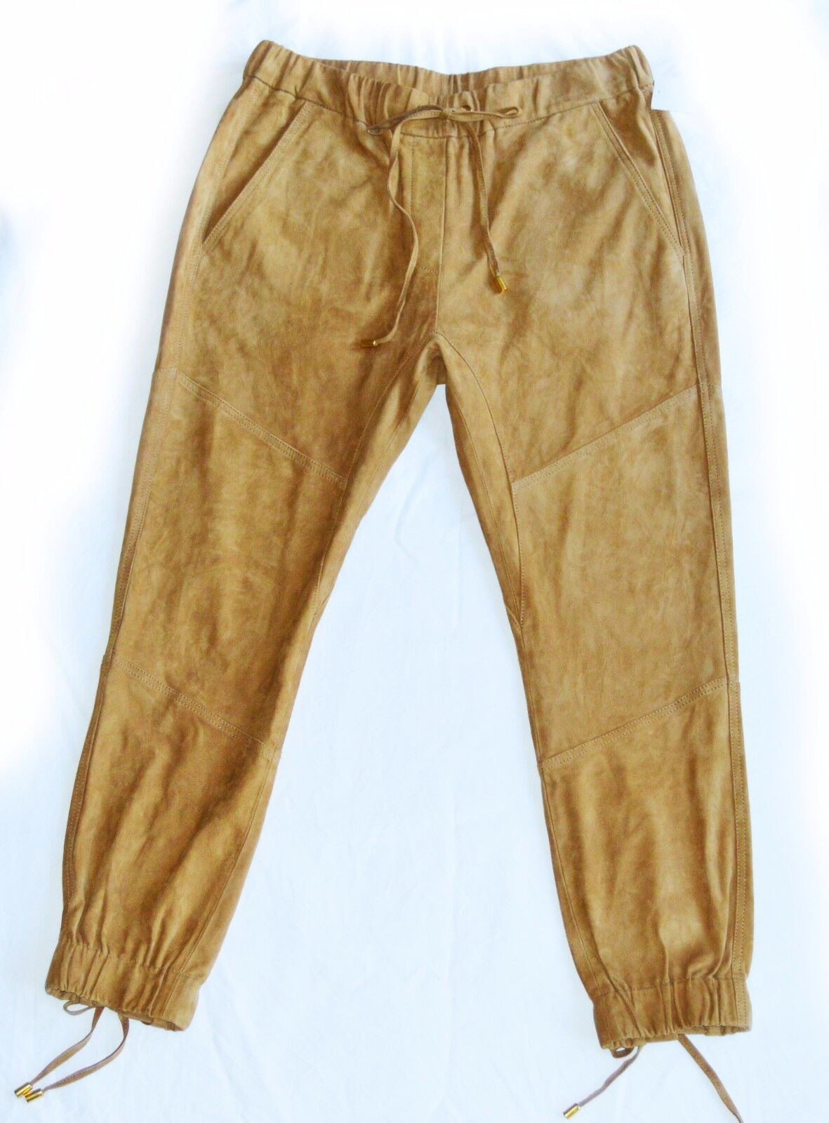 Pam&Gela Sz S Tan High Rise Lace- Up Suede Leather Jogger Pant Retail  825