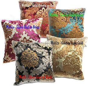 Wa-Black-Gold-Brown-Teal-Red-Damask-Velvet-Pillow-Case-Cushion-Cover-Custom-Sz