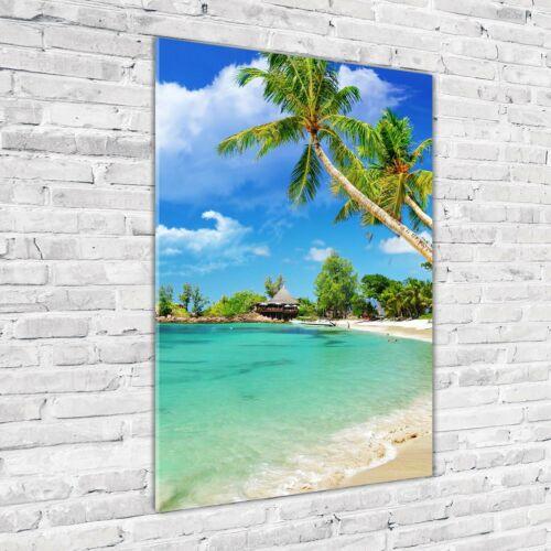 Wand-Bild Kunstdruck aus Hart-Glas Hochformat 70x100 Tropischer Strand