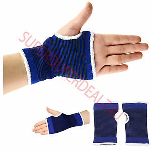 Palm Wrist Hand Support Glove Elastic Brace Sleeve Sport Bandage Gym Wrap Blue