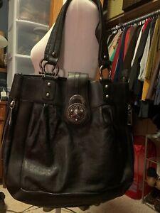 Steven by Steve Madden Black Leather Handbag with Silver Turnkey & Hardware