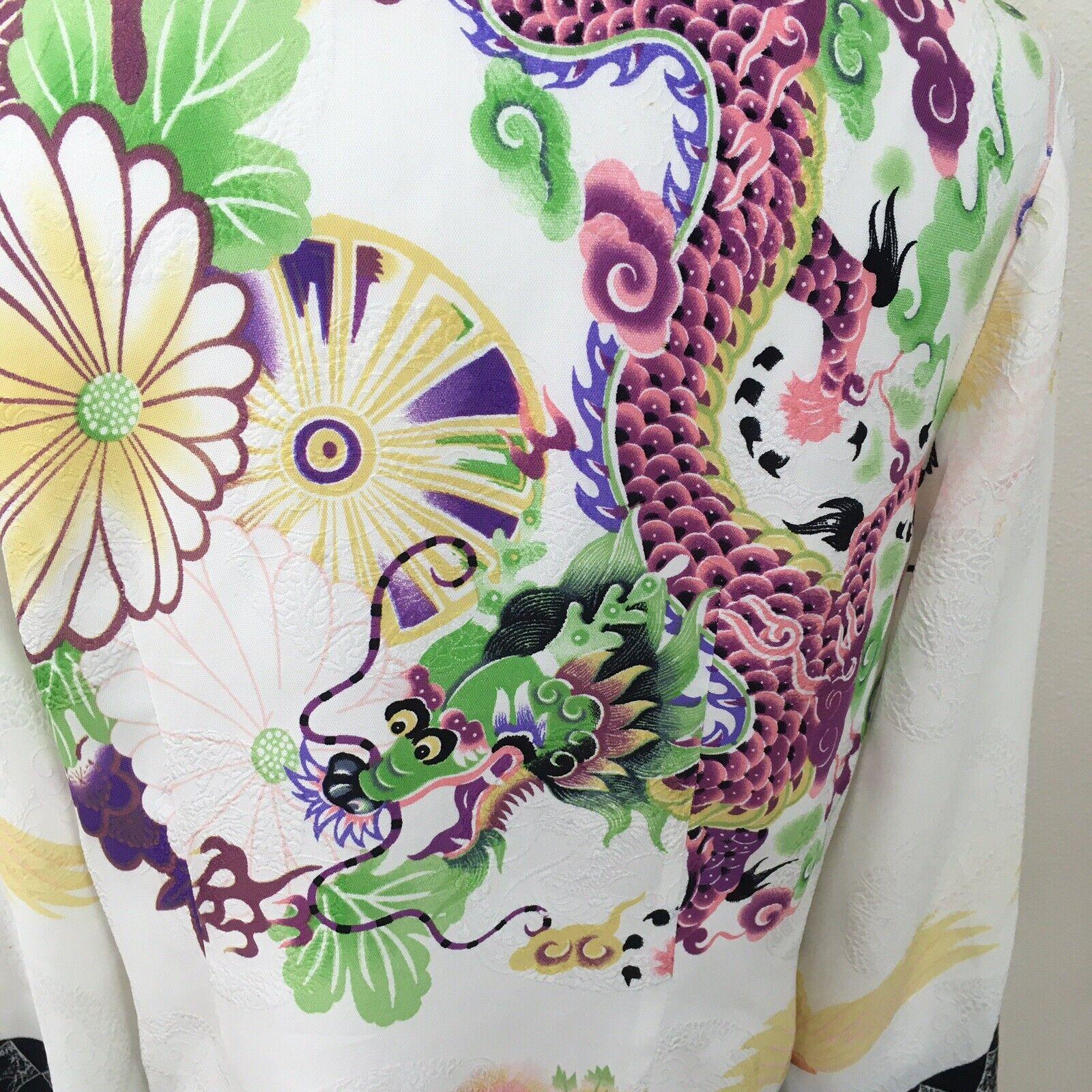 Citron Santa Monica Silk Asian Dragon Crane Ivory… - image 3