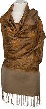 Stola bestickt Braun Schal 100% Wolle wool embroidered stole écharpe foulard