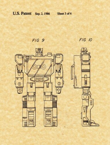 1986 Art Print Transformers Soundwave Patent Print Ready To Be Framed!