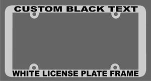 WHITE WITH BLACK TEXT THIN STYLE CUSTOM PERSONALIZED License Plate Frame