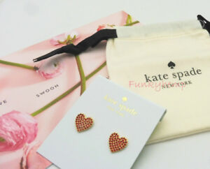 361557ffd0636 Details about NWT Authentic Kate Spade Red Pavé Heart Stud Earrings Perfect  For Valentine day