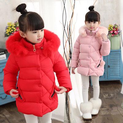 Kids Girls Winter Cotton Down Jacket Long Hooded Coat Warm Puffer Outwear Parka