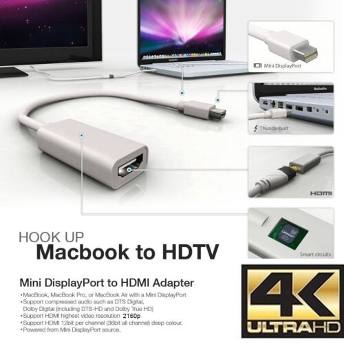 Active 4K Ultra-HD Mini DisplayPort to HDMI Adapter Eyefinify With 4K HDMI Cable