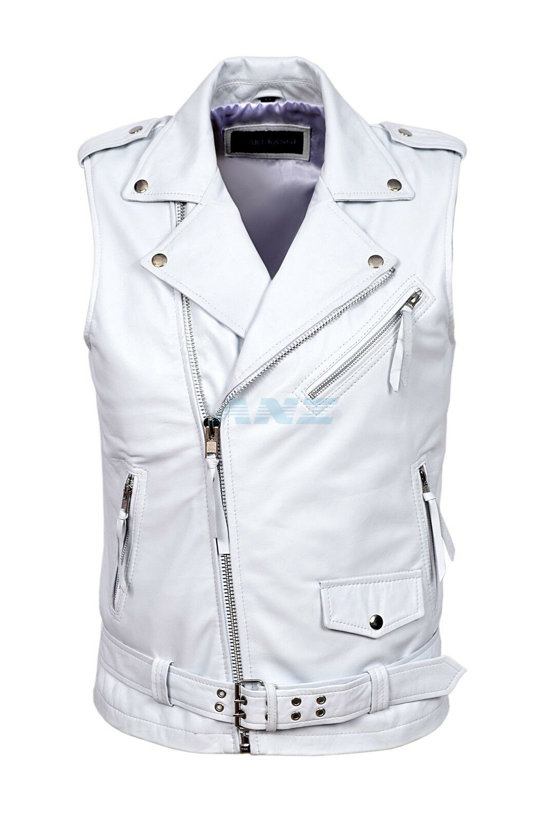 Men Brando White Motorcycle Biker Steam Punk Italian Lambskin Leather Waistcoat