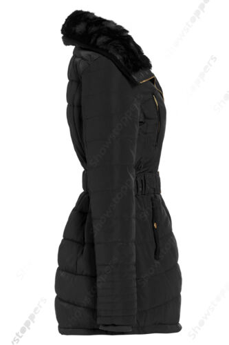 NEW Size 10 12 14 16 Womens PADDED COAT Ladies JACKET Fur Puffa Black Quilted
