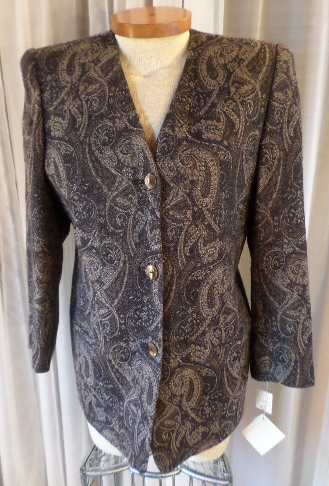 NWT Lady Lord & Taylor Tapestry Blazer Jacket Pure NEW Wool schwarz 10P 10 Petite
