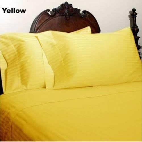 1000 THREAD COUNT EGYPTIAN COTTON ALL BEDDING ITEMS US SIZE YELLOW STRIPE COLOR