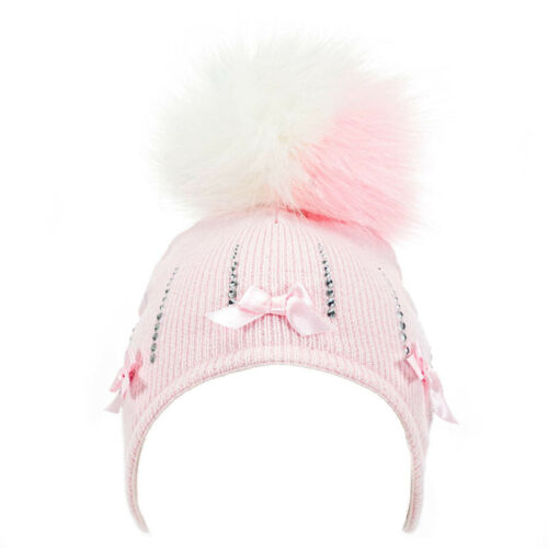 Baby Girl Pom Pom Hat with Diamantes /& Satin Bows Knitted Pink White 0-12 Months