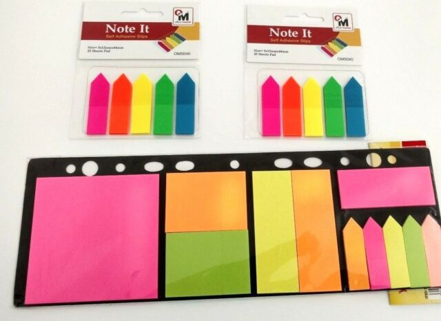 500 Colour Fluro Repositionable Adhesive Sticky Note Marker Index Tab Bookmark