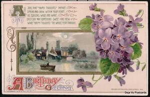 BIRTHDAY-GREETING-Vtg-Postcard-Violets-Canoe-Moonlight