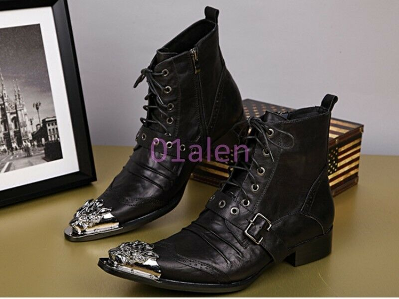 Mens British Lace Up Cowboy Evening Metal Pointy Toe Cool Zip Plus SZ Ankle Boot