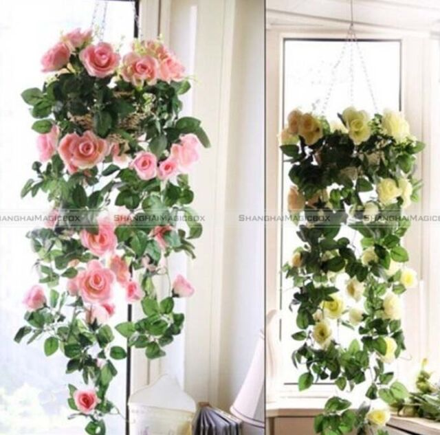 Artificial Fake Silk Rose Flower Ivy Vine Hanging Garland Wedding Decor