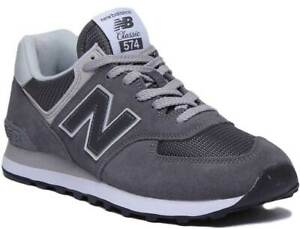 New-Balance-574-Classic-Men-Suede-Mesh-Trainers-In-Grey-White-Size-UK-6-12