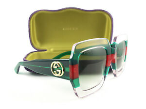 75e62166118 Image is loading Gucci-Sunglasses-GG0178S-001-Transparent-Green-Red-New-