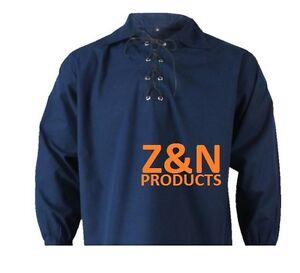 Ecossais-bleu-marine-jacobites-ghillie-kilt-shirt-cordon-cuir-tailles-s-5XL