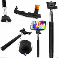 Monopod Selfie Stick Telescopic+Bluetooth Wireless Mobile Phone Holder✔Black