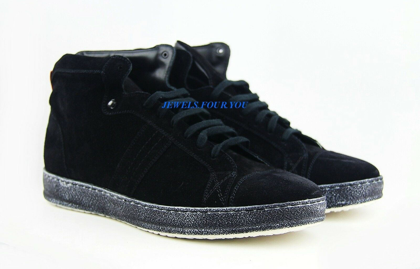 Kiton Hecho a Mano botas Zapatos Negro Gamuza Cuero 100% Italia Nuevo