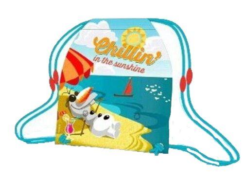 New Disney Frozen Olaf Chillin/' in the Sun Childrens Beach Bag  Drawstring Bag