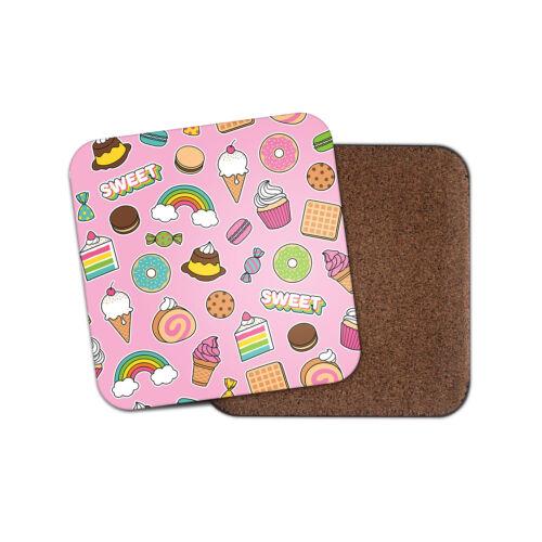Mignon desserts Coaster-Gâteau Glace Cupcake Cookie Rainbow Filles Cadeau #14711